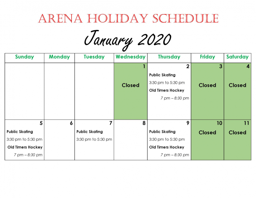 Arena Holiday Schedule- January 2020