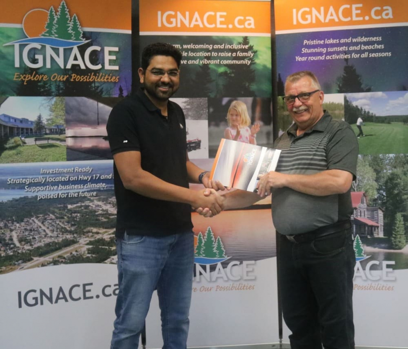Mr. Anuj Patel, successful recipient of a Landscaping and Parking Area Improvement Grant from the Township of Ignace