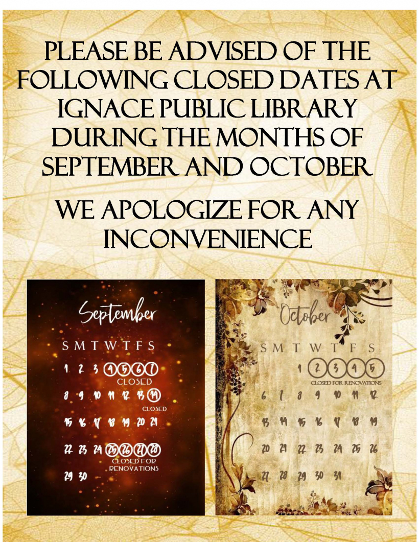 Library Closure Notice for September and October, 2019